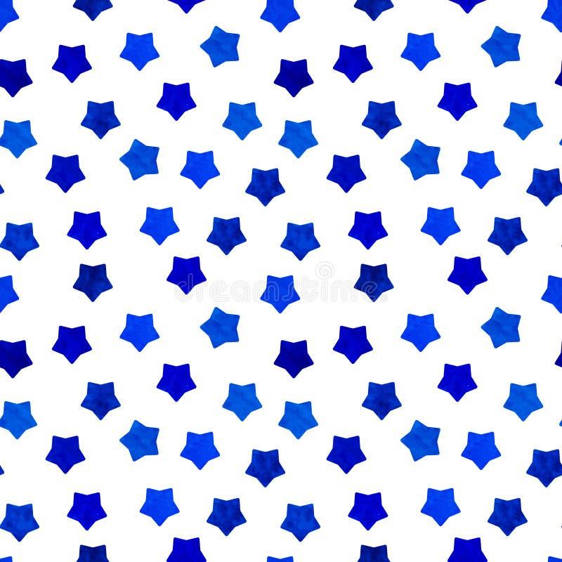 El fondo azul brillante de las estrellas de la acuarela se puede copiar sin ningunas costuras Gráfico de la mano Ilustración del  libre illustration