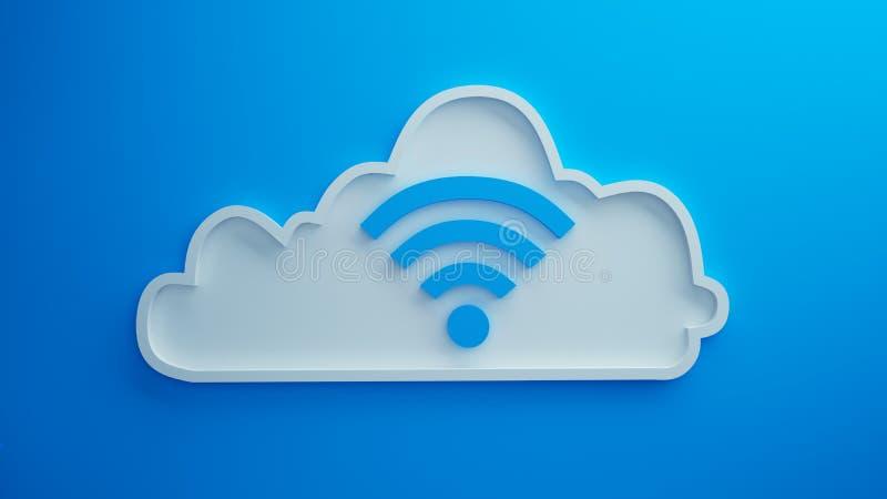 El fondo azul 3d de la nube de Wifi rinde imágenes de archivo libres de regalías