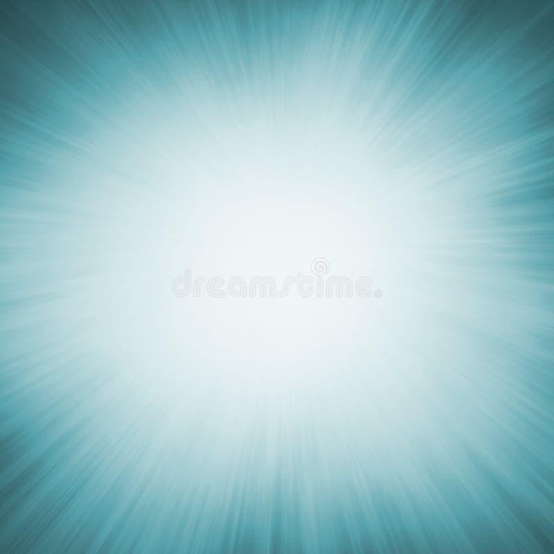 El fondo azul de la falta de definición del enfoque con el centro blanco y la sol radial irradia stock de ilustración