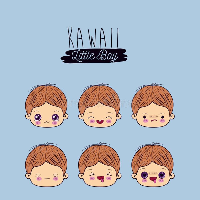 El fondo azul fijó para seis niños pequeños del kawaii de la expresión facial libre illustration