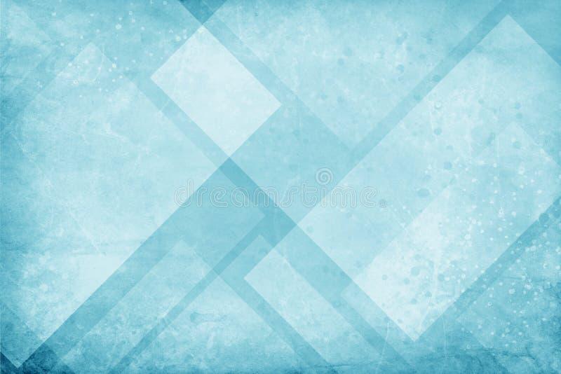El fondo azul y blanco con el triángulo y modelo geométricos texturizados del diamante con la pintura débil salpica el salpicón y ilustración del vector