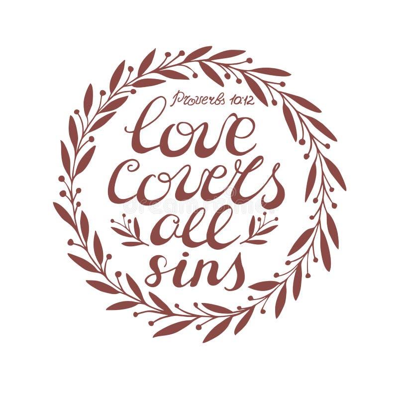 El fondo bíblico con amor de las letras de la mano cubre todos los pecados libre illustration