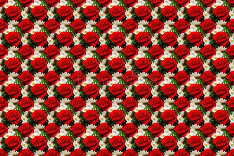 El fondo blanco abigarrado inconsútil abstracto con las rosas rojas y los brotes, textura sin fin se puede utilizar para el papel ilustración del vector