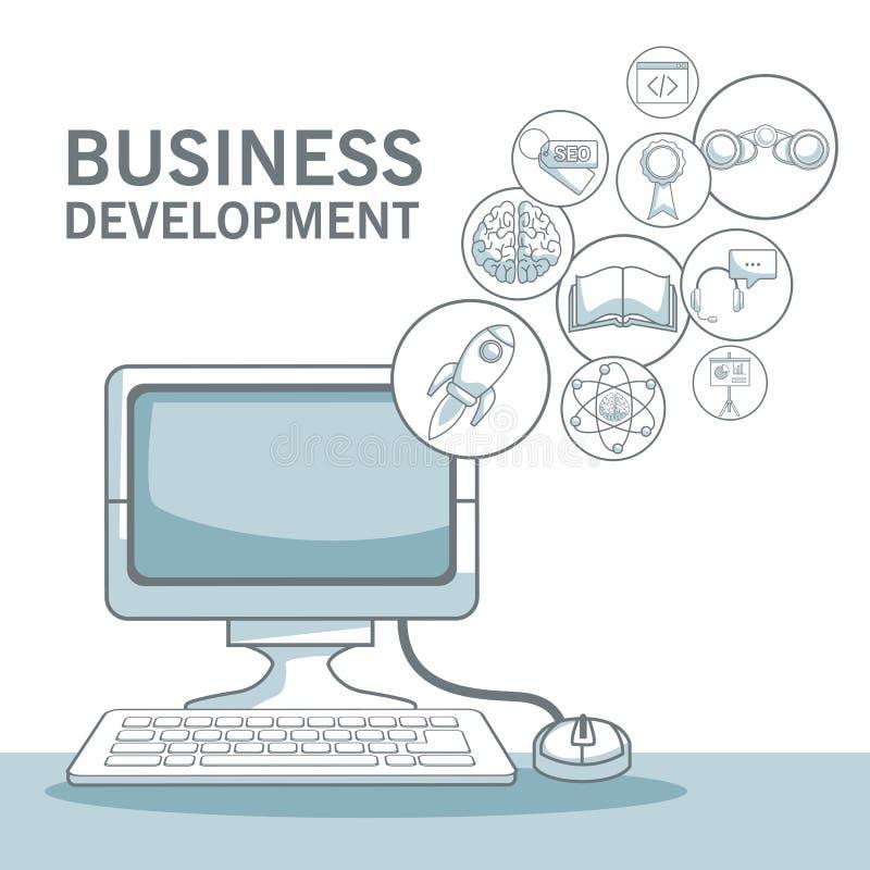 El fondo blanco con color de la silueta secciona el shading del ordenador del escritorio con el desarrollo de negocios flotante d stock de ilustración