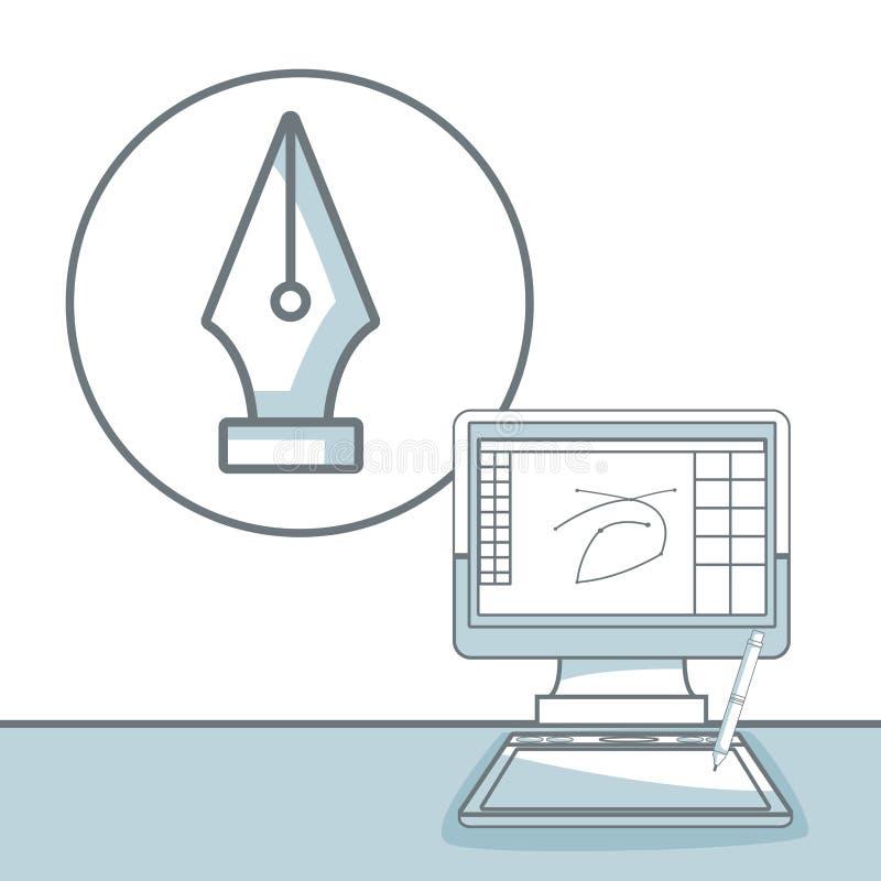 El fondo blanco con color de la silueta secciona el shading del ordenador del escritorio con diseño gráfico de la semilla de la p stock de ilustración