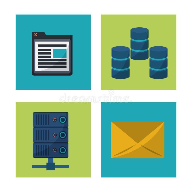 El fondo blanco con el cuadrado enmarca gráficos con los iconos del servidor del ordenador y de la ventana del correo y del progr stock de ilustración