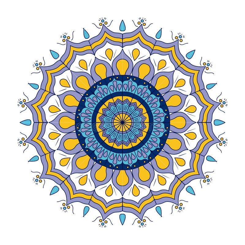 El fondo blanco con la flor ornamental colorida cae el vintage de la mandala decorativo ilustración del vector