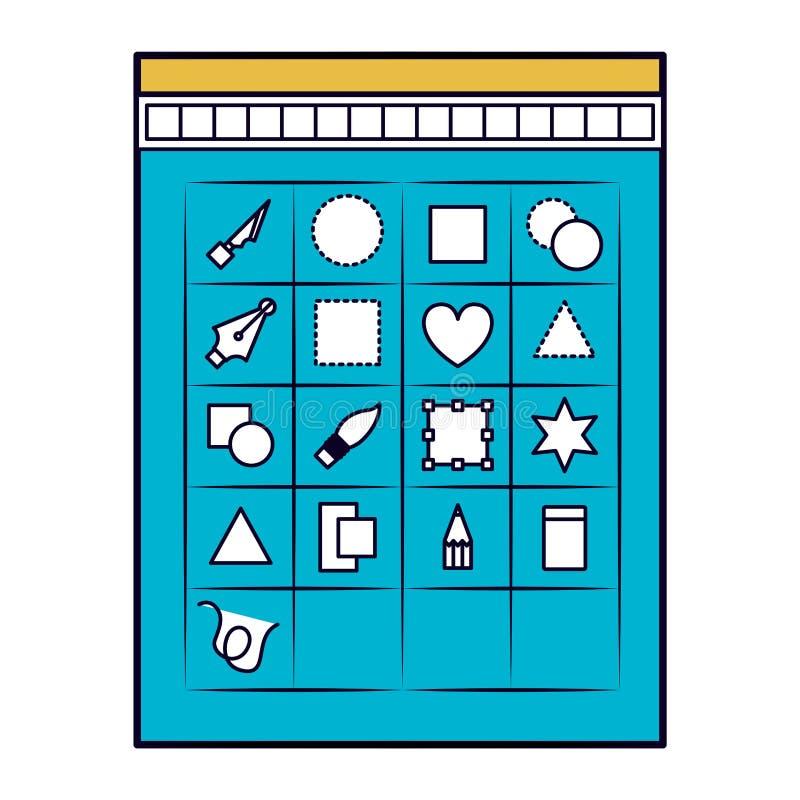 El fondo blanco con las secciones del color siluetea de la caja de herramientas para el gráfico del diseñador ilustración del vector