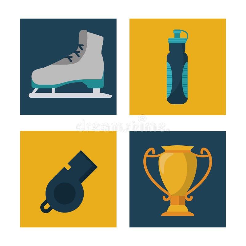 El fondo blanco con los cuadrados fijó de patines de hielo de los elementos de los deportes y botella de agua y silbido y trofeo libre illustration
