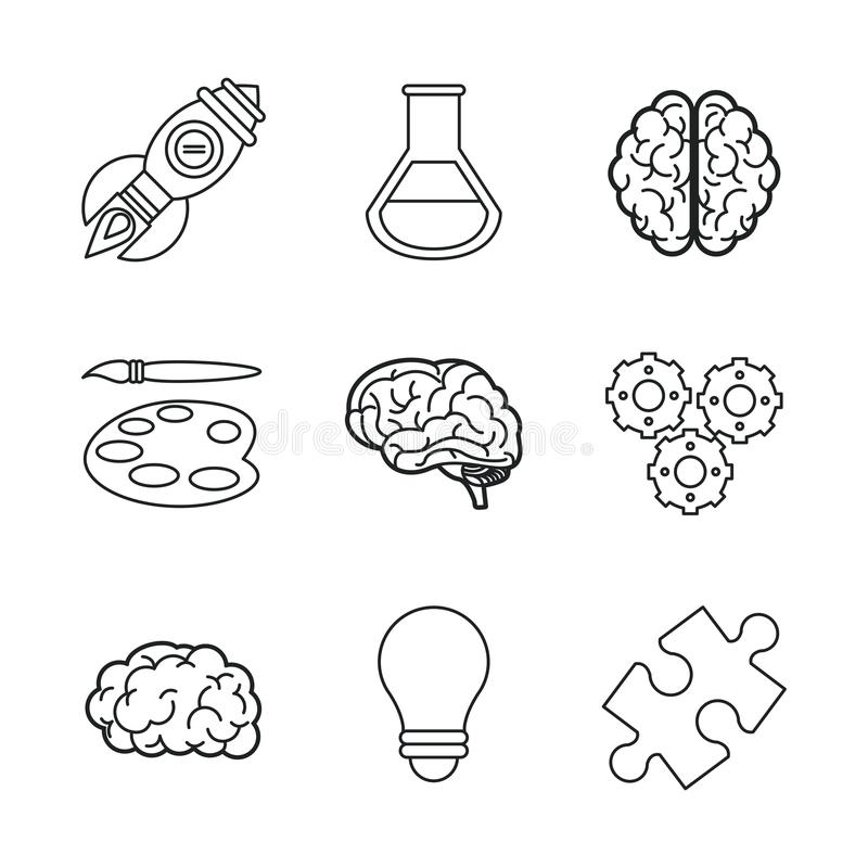 El fondo blanco con negro siluetea iconos del cerebro o de mentes creativas stock de ilustración