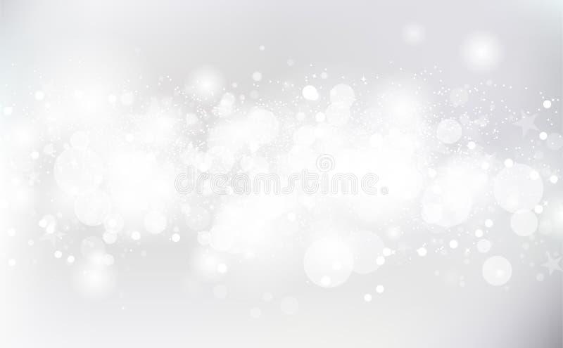 El fondo blanco, estrellas fugaces riela el vector brillante ligero de plata de la chispa, celebra el extracto de la decoración libre illustration