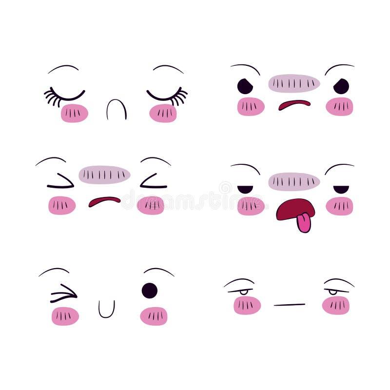 El fondo blanco fijó para seis diversos kawaii de la expresión facial stock de ilustración