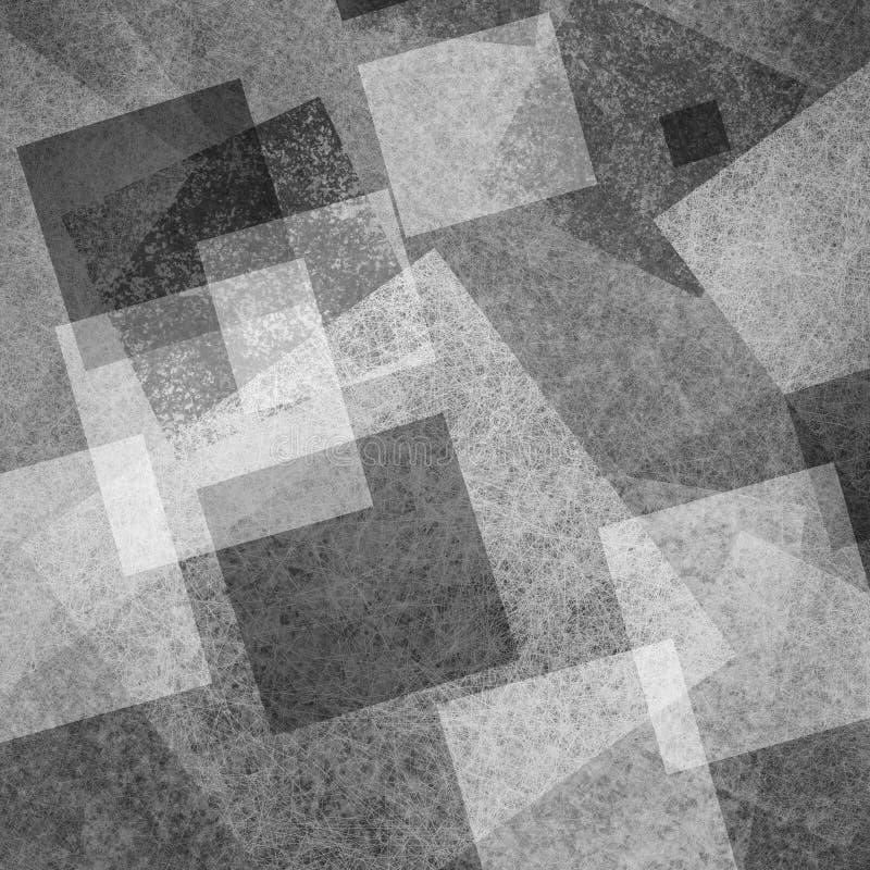 El fondo blanco y negro abstracto de capas de diamante de intersección bloquea los rectángulos y los cuadrados que flotan en mode libre illustration