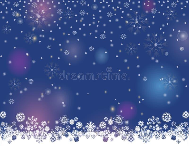 El fondo borroso del invierno de las luces abstractas de la noche para su Feliz Navidad y la Feliz Año Nuevo diseñan stock de ilustración