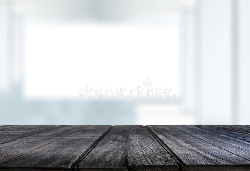 El fondo borroso ventana vacía de la tabla del tablero de madera puede ser utilizado fotos de archivo