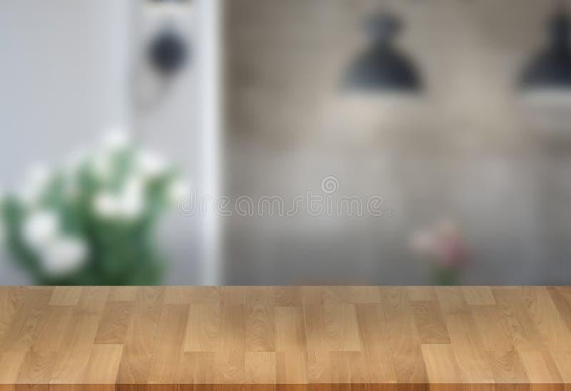 El fondo borroso ventana vacía de la tabla del tablero de madera puede ser utilizado imágenes de archivo libres de regalías
