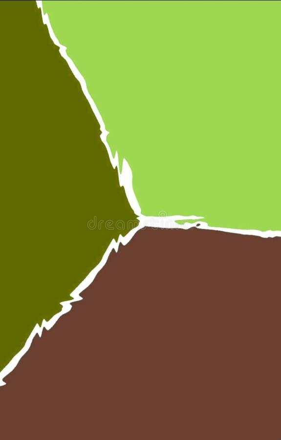 El fondo brillante de tres coloreó piezas separadas por una línea ondulada stock de ilustración
