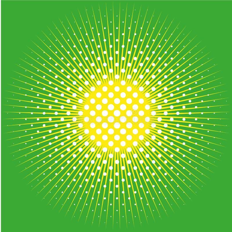 El fondo cómico retro del estallido punteó el diseño de semitono y el sol en verde ilustración del vector