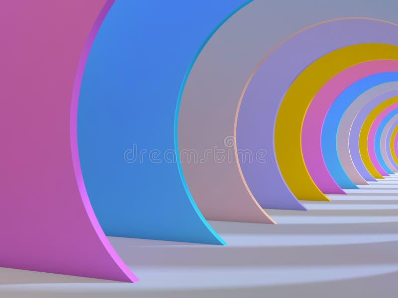 El fondo colorido abstracto del túnel, 3d rinde stock de ilustración