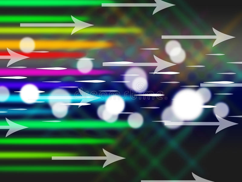 El fondo colorido de las flechas significa el tráfico y los bytes netos ilustración del vector