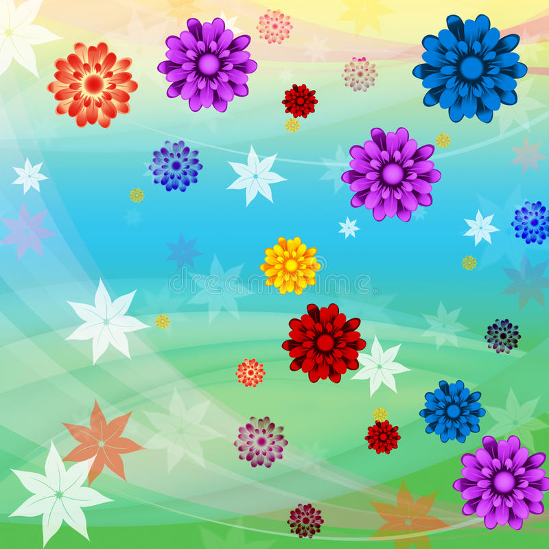 El fondo colorido de las flores significa crecimiento floral y la playa stock de ilustración