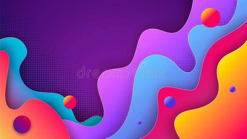 El fondo colorido del extracto 3d con el papel cortó formas Vector la disposición de diseño para las presentaciones de las bander libre illustration