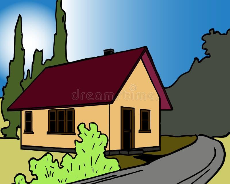El fondo colorido del paisaje natural con la casa de campo y las montañas en puesta del sol vector el ejemplo ilustración del vector