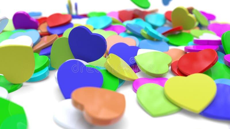 El fondo con diversos corazones coloreados, del arbusto representación 3d ilustración del vector