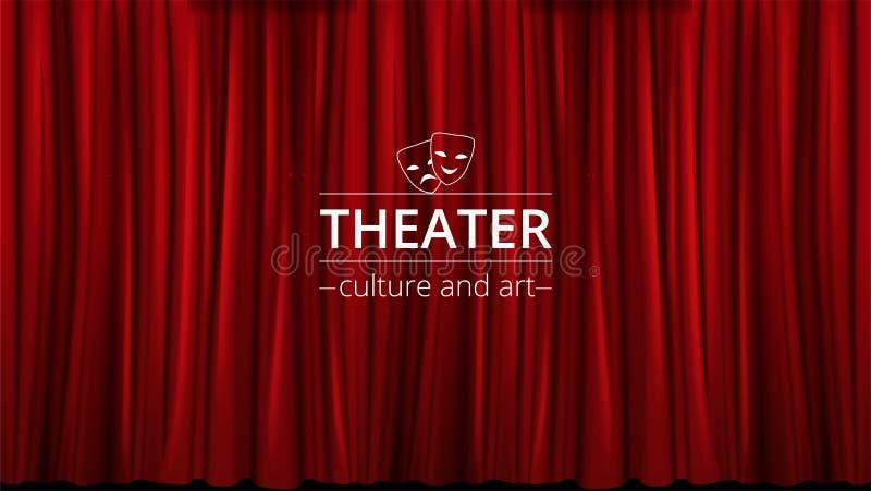 El fondo con las cortinas rojas del teatro se cerró ilustración del vector