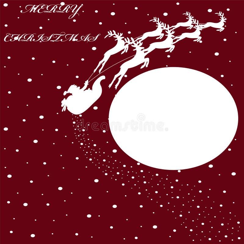 El fondo con el trineo del ` s de Papá Noel, nieve, lugar para el texto, vector enfermedad ilustración del vector