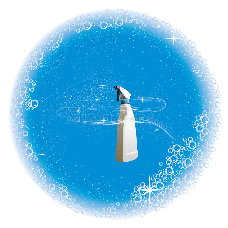 El fondo con un aerosol y un agua de la limpieza burbujea ilustración del vector