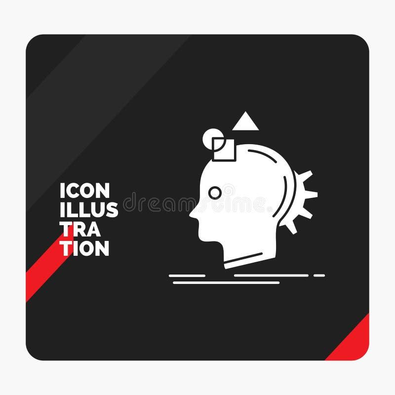 El fondo creativo rojo y negro de la presentación para la imaginación, imaginativo, se imagina, idea, icono de proceso del Glyph ilustración del vector
