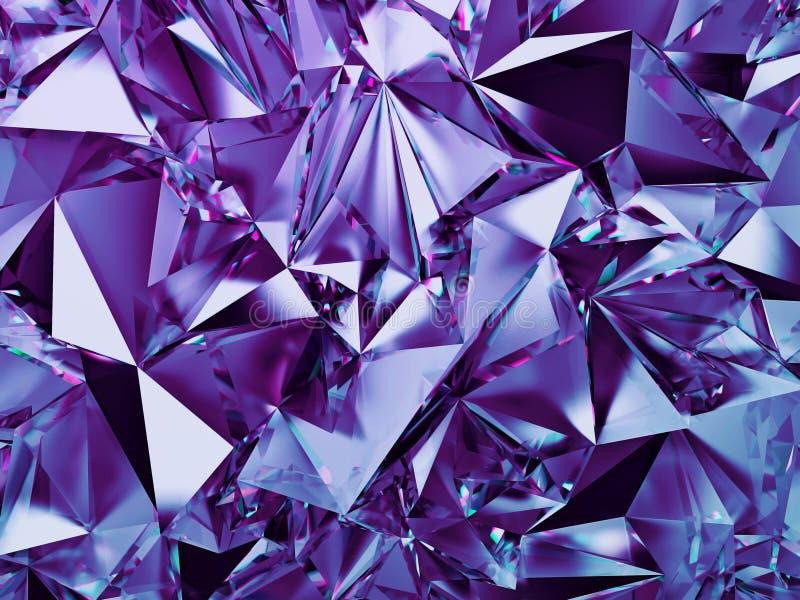 el fondo cristalino violeta del extracto 3d, papel pintado púrpura azul de la moda, talló textura cristalizada geométrica ilustración del vector