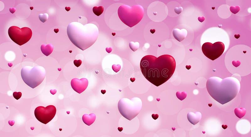El fondo 3d del día de tarjetas del día de San Valentín rinde el ejemplo 3d imagen de archivo libre de regalías