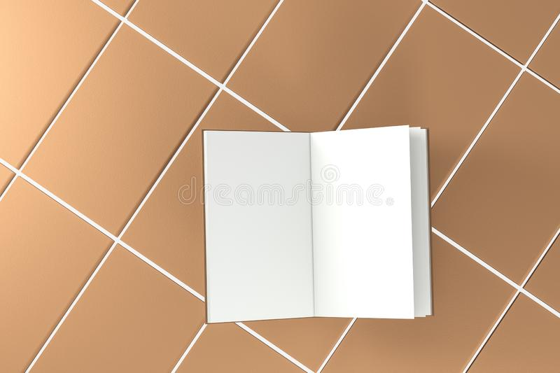 El fondo de apertura en blanco marrón del cuaderno, representación 3d ilustración del vector