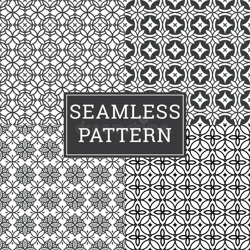 El fondo de Art Deco Seamless Pattern Decorative fijó 4 en 1 libre illustration