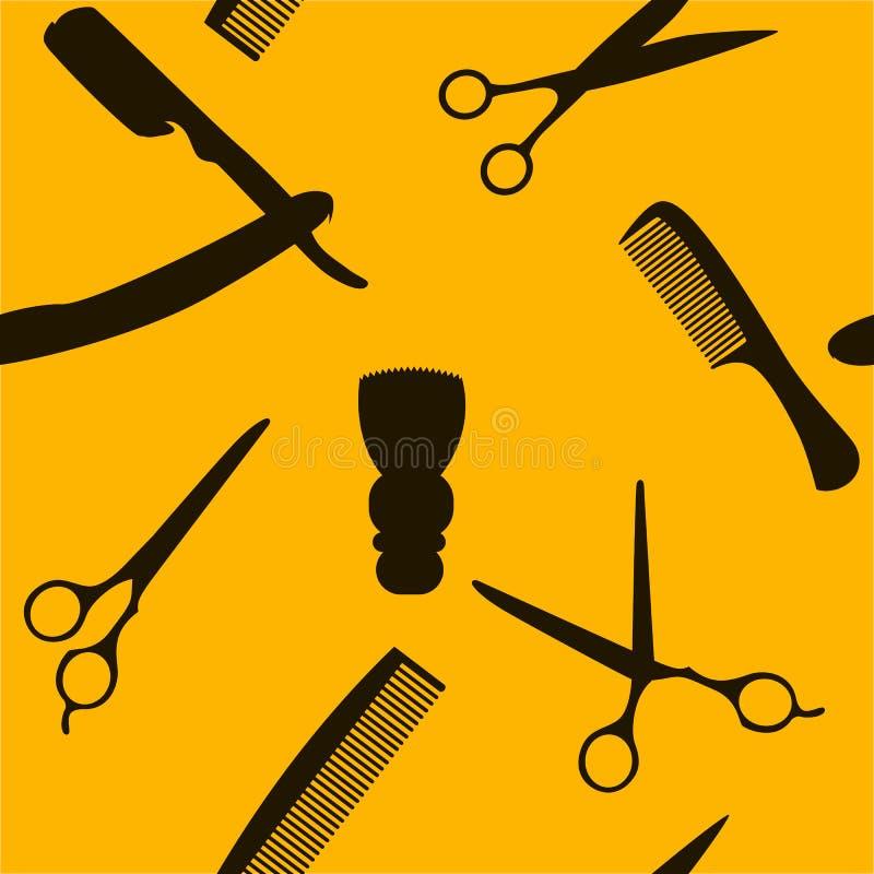 El fondo de Barber Shop o del peluquero, modelo inconsútil con peluquería scissors, brocha de afeitar, maquinilla de afeitar, pei stock de ilustración