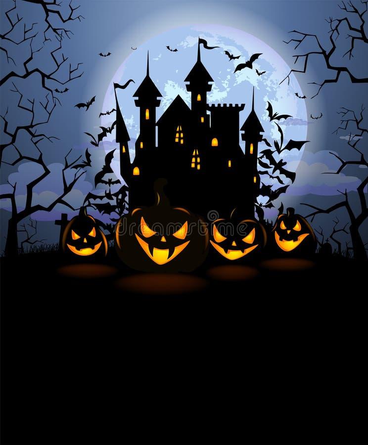 El fondo de Halloween con las calabazas asustadizas y Drácula se escudan ilustración del vector