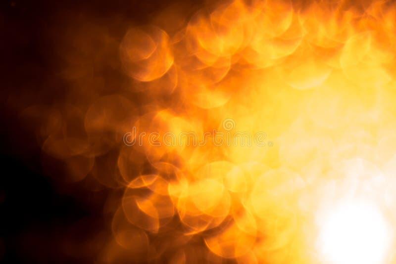 El fondo de la abstracción con el fuego amarillo-naranja señala por medio de luces los círculos Fondo de la abstracción de la Nav ilustración del vector