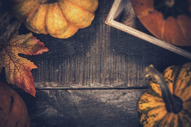 El fondo de la acci?n de gracias con la fruta y verdura en la madera en oto?o y la ca?da cosechan la estaci?n foto de archivo libre de regalías