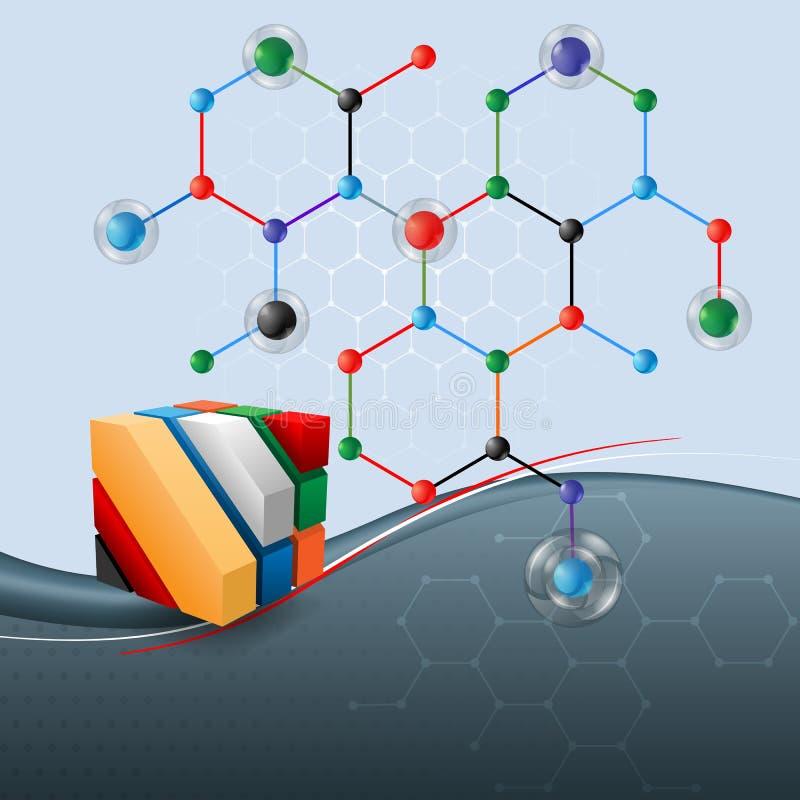 El fondo de la ciencia abstracta con tres dimensiones cubica haber diseñado artístico y la sustancia química, estructura hexagona stock de ilustración