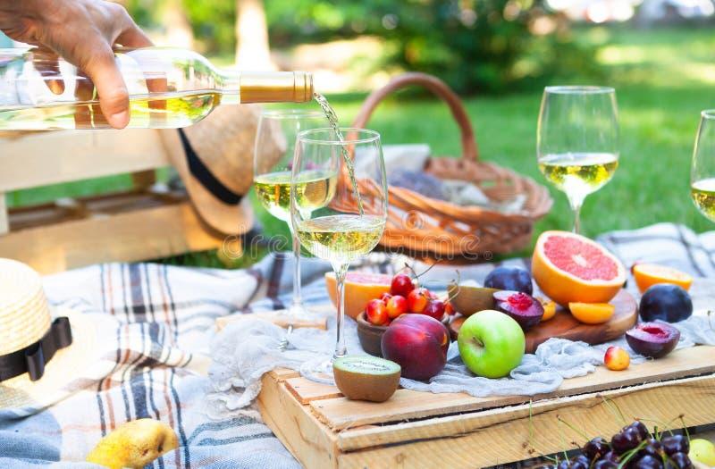 El fondo de la comida campestre con el vino blanco y el verano da fruto en gra verde imágenes de archivo libres de regalías