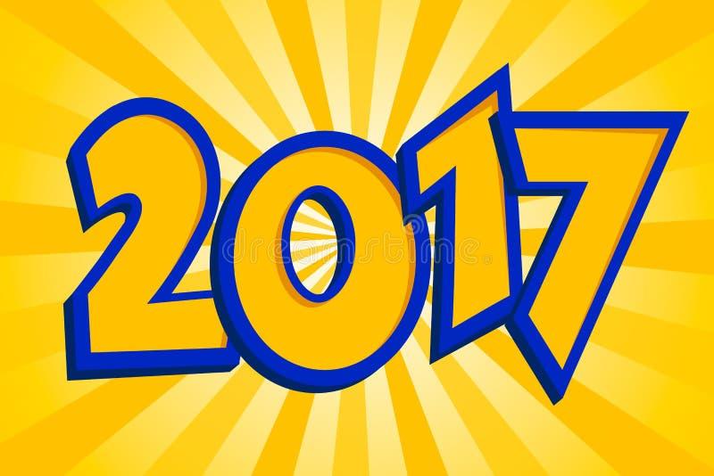 El fondo de la Feliz Año Nuevo 2017 sobre el sol anaranjado irradia Colores de moda amarillos azules stock de ilustración