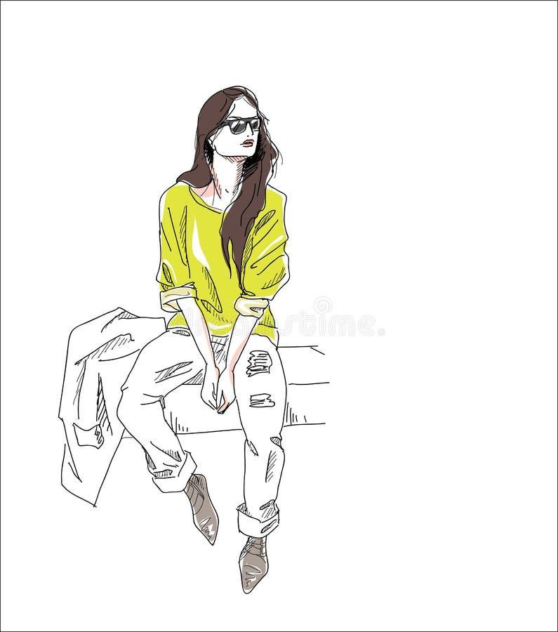 El fondo de la muchacha de la moda sienta la calle aislada libre illustration
