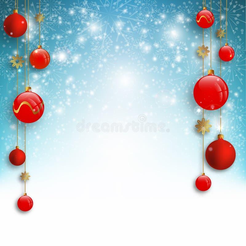 El fondo de la Navidad con las bolas rojas de la Navidad y la nieve para Navidad diseñan Ilustración del vector libre illustration