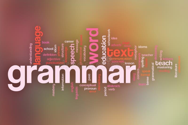El fondo de la nube de la palabra del concepto de la gramática en pastel empañó backgrou ilustración del vector