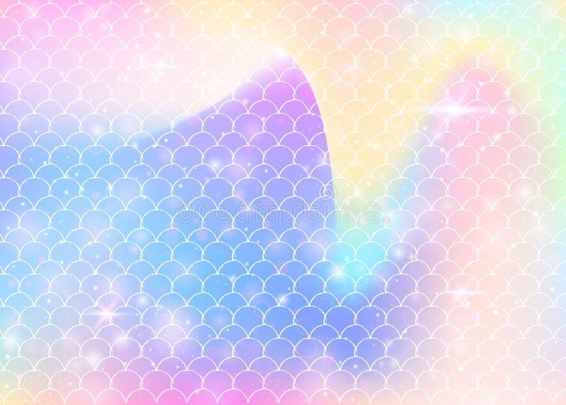 El fondo de la sirena de Kawaii con el arco iris de la princesa escala el modelo ilustración del vector