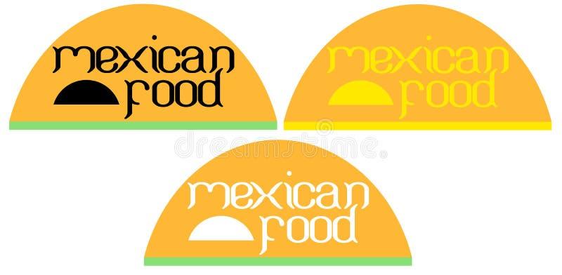 El fondo de la tipografía en la comida mexicana de los tacos es un logotipo creativo stock de ilustración