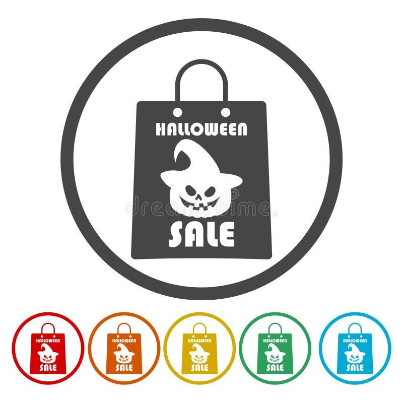El fondo de la venta de Halloween con los bolsos que hacen compras asustadizos diseña stock de ilustración
