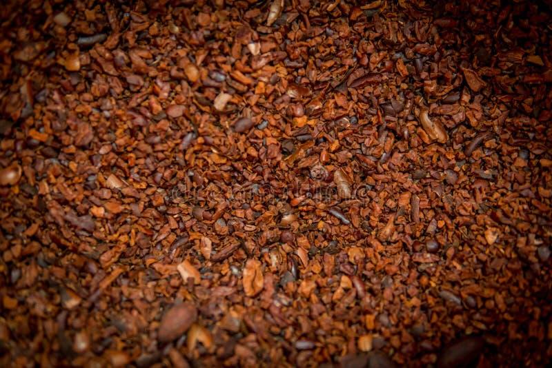 El fondo de las semillas de cacao foto de archivo